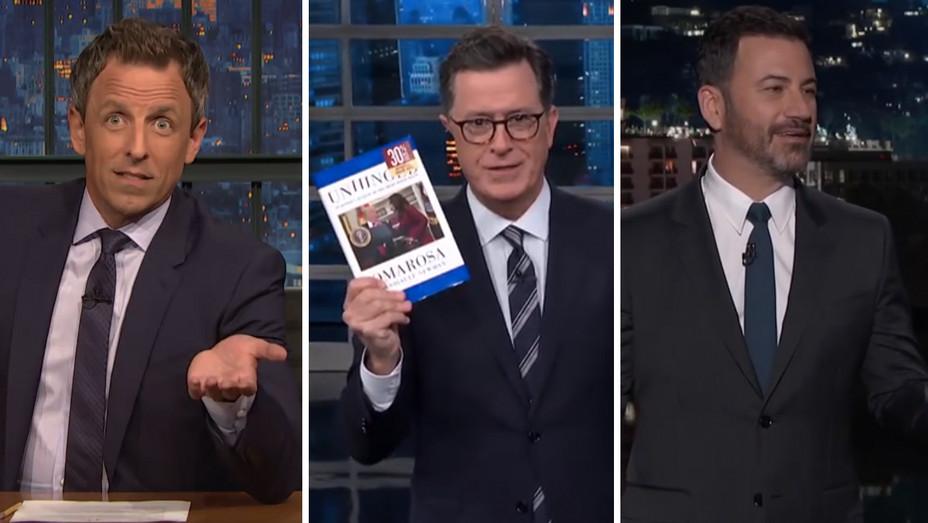 Seth Meyers Stephen Colbert Jimmy Kimmel  Split 08 16 18 - Screengrab - H 2018