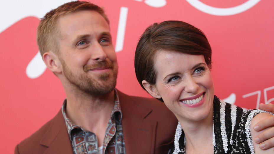 Ryan Gosling and Claire Foy attends 'First Man' photocall during the 75th Venice Film Festival - Getty - H 2018