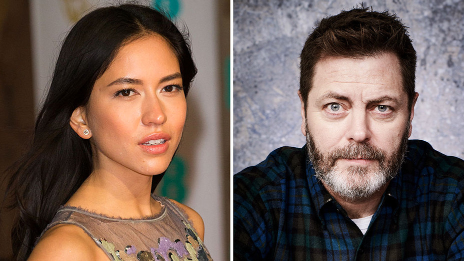 Sonoya Mizuno and Nick Offerman -Publicity Split-H 2018