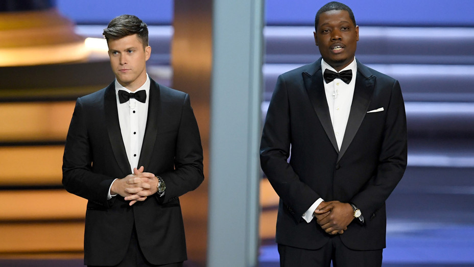 Colin Jost and Michael Che host the 70th Emmy Awards_1 - Getty - H 2018