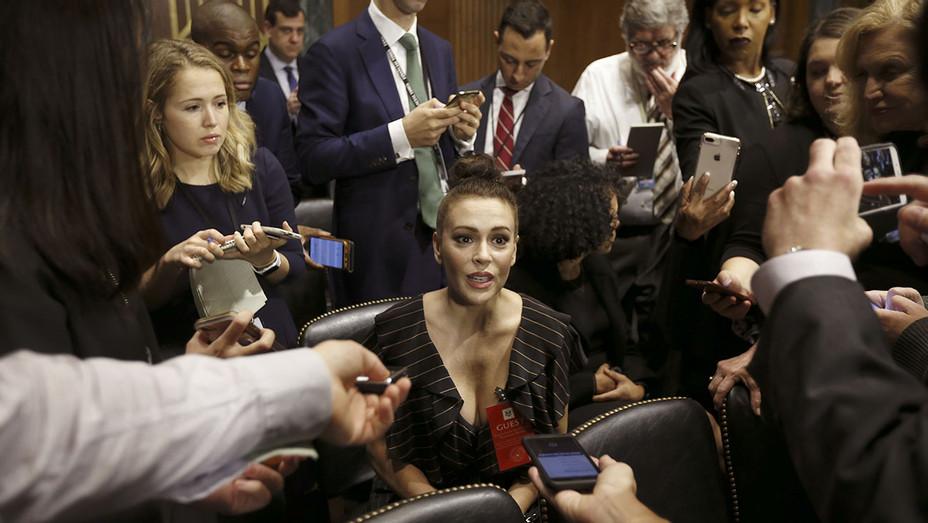 Alyssa Milano talks to media before the Senate Judiciary Committee hearing - September 27, 2018 - Getty-H 2018
