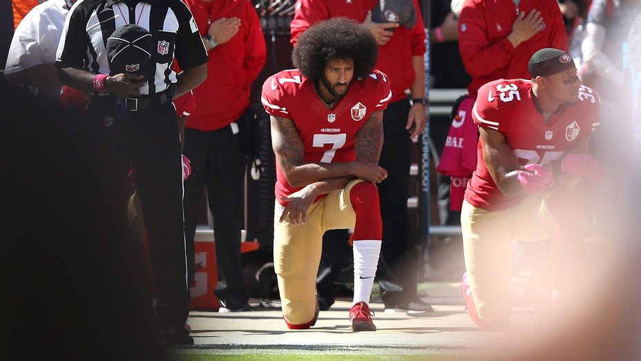 Colin Kaepernick #7 of the San Francisco 49ers kneels  - October 23, 2016 -Getty- H 2018