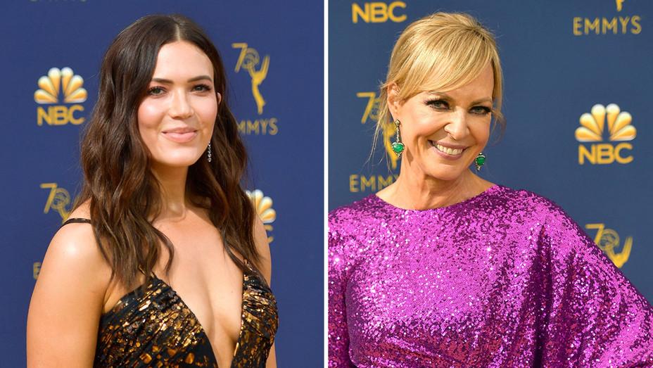 Mandy Moore Alison Janney 70th Emmy Awards Getty H-Split 2018