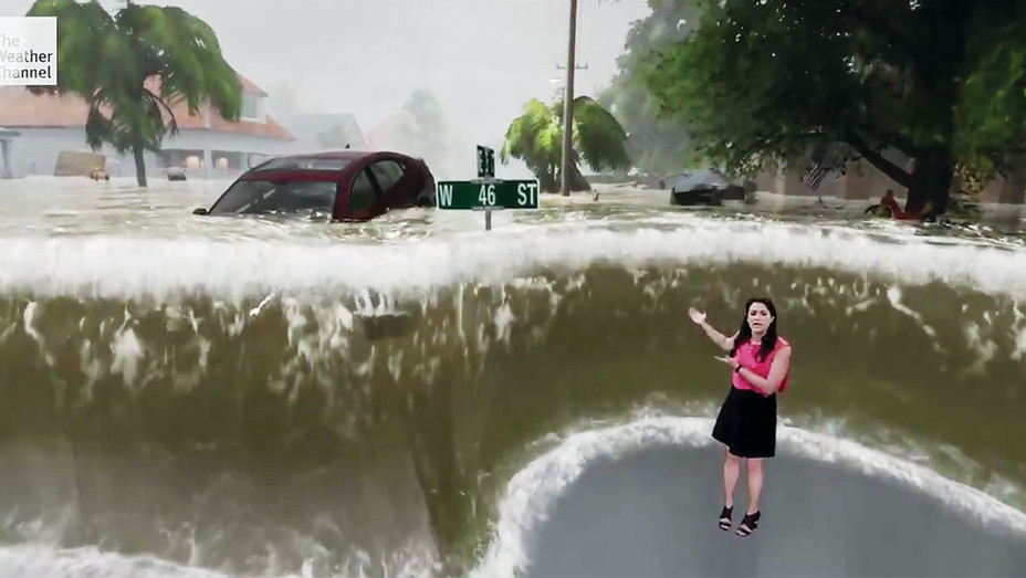 Meteorologist Erika Navarro's Sept. 13 virtual hurricane segment on the Weather Channel - Screen Shot-H 2018