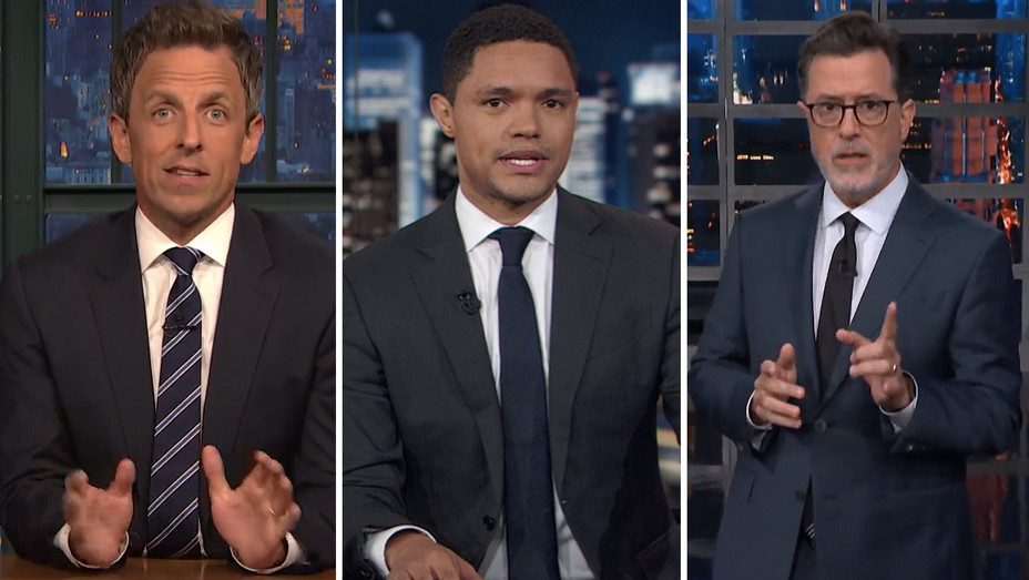 Seth Meyers Trevor Noah Stephen Colbert Split 09 07 18 - Screengrab - H 2018