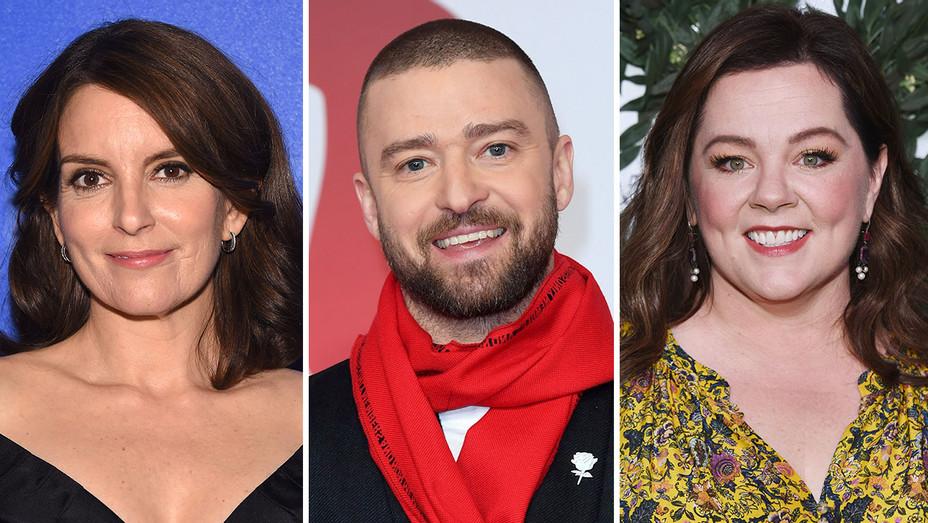 Tina Fey, Justin Timberlake and Melissa McCarthy_Split - Getty - H 2018