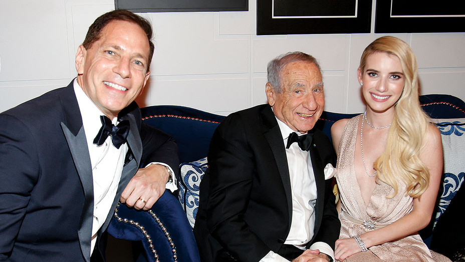 Harley Neuman, Mel Brooks, and Emma Roberts in the Chase Sapphire Preferred Blue Room - ONE TIME USE ONLY- AP Images-H 2018