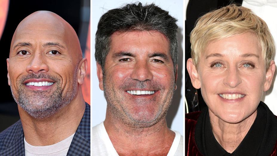 Dwayne Johnson-Simon Cowell -Ellen DeGeneres-Split-Getty-H 2018