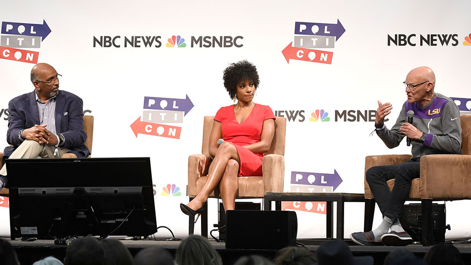 Michael Steele, Zerlina Maxwell and James Carville speak at Politicon 2018 - Getty - H 2018