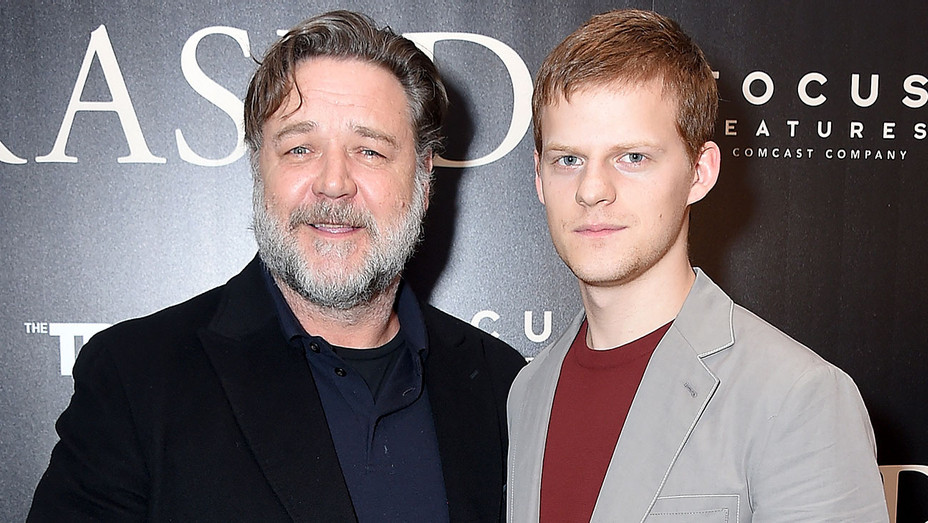 "Russell Crowe and Lucas Hedges attend the New York screening of ""Boy Erased""  Getty -H 2018"
