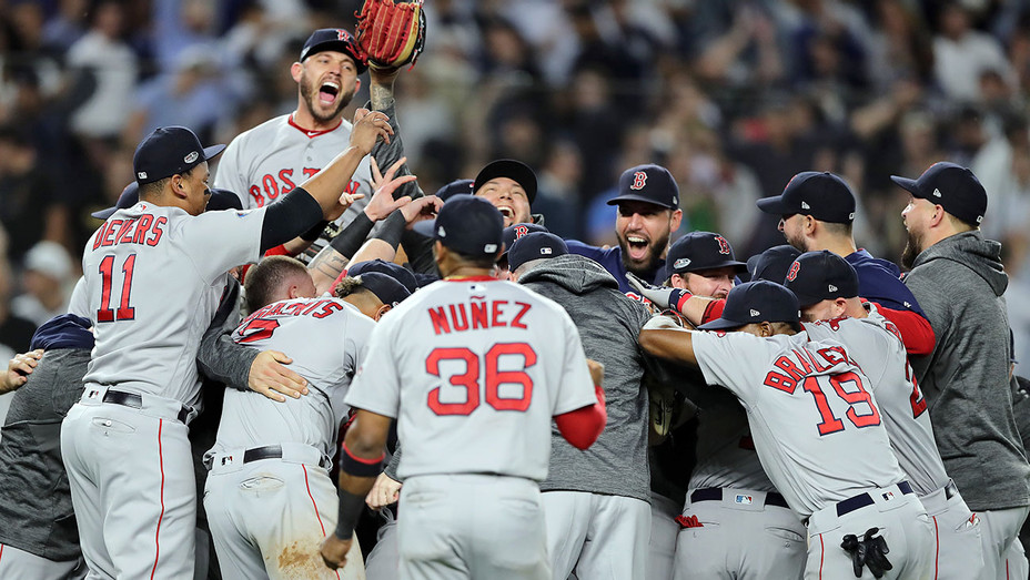 Red Sox celebrate after beating the New York Yankees by a score of 4-3 to win Game Four American League Division Series - Getty-H 2018