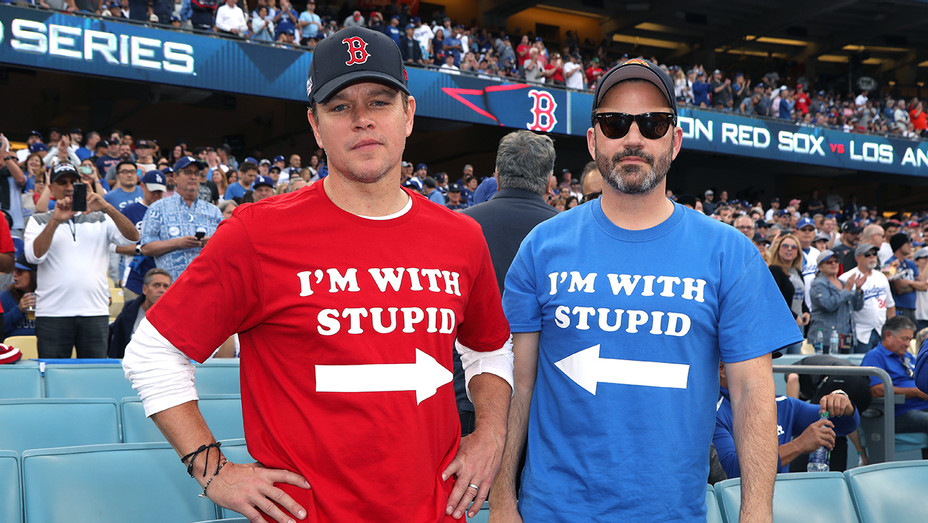 Matt Damon Jimmy Kimmel World Series - H Getty 2018