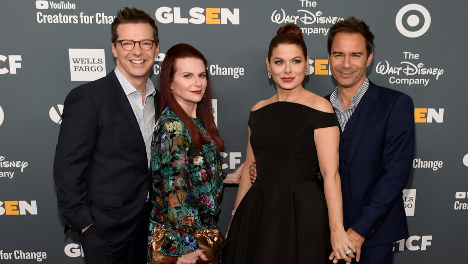 Will and Grace castmates at GLSEN - Getty - H 2018