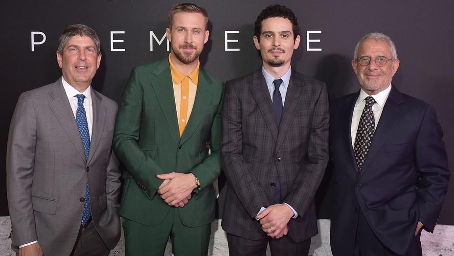 Jeff Shell Ryan Gosling Damien Chazelle Ron Meyer attend the 'First Man' premiere - Getty - H 2018