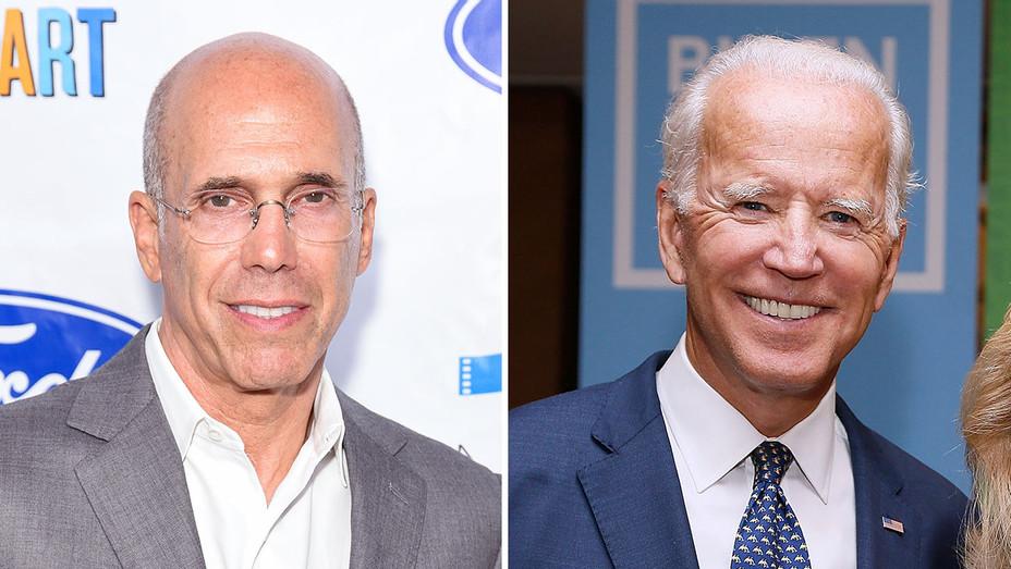 Jeffrey Katzenberg and Joe Biden_Split - Getty  - H 2018