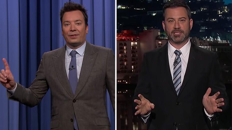 Jimmy Fallon and Jimmy Kimmel-Split- Screen shot -H 2018