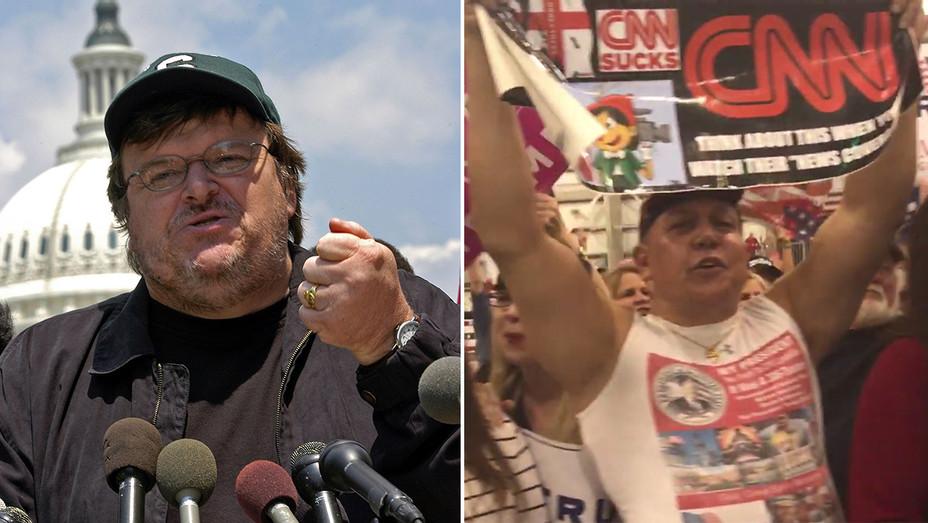 Michael Moore Cesar Sayoc video split - Getty and Screenshot - H 2018