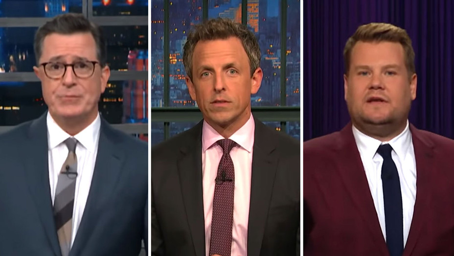 New-Stephen Colbert-Seth Meyers - James Corden-Screengrab-Split- H 2018