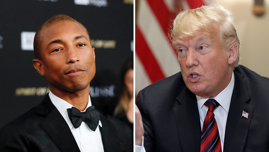 Pharrell Williams and Donald Trump_Split - Getty - H 2018