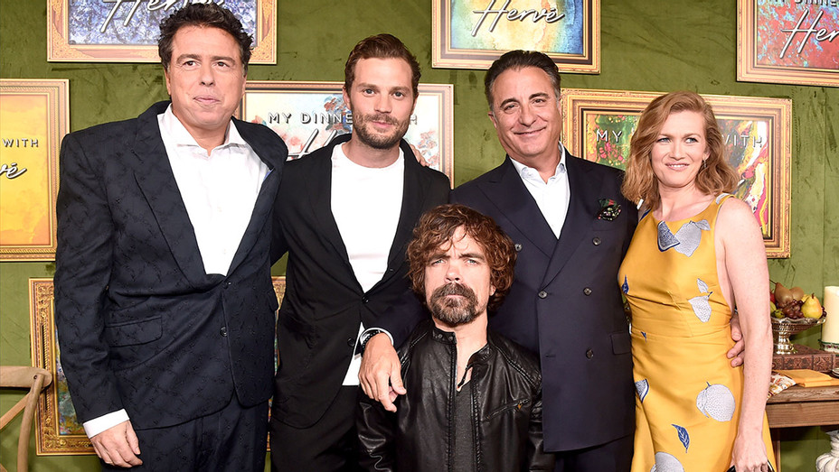 Sacha Gervasi, Jamie Dornan, Peter Dinklage, Andy Garcia and Mireille Enos attend the premiere of HBO Films' 'My Dinner With Herve' -Getty-H 2018