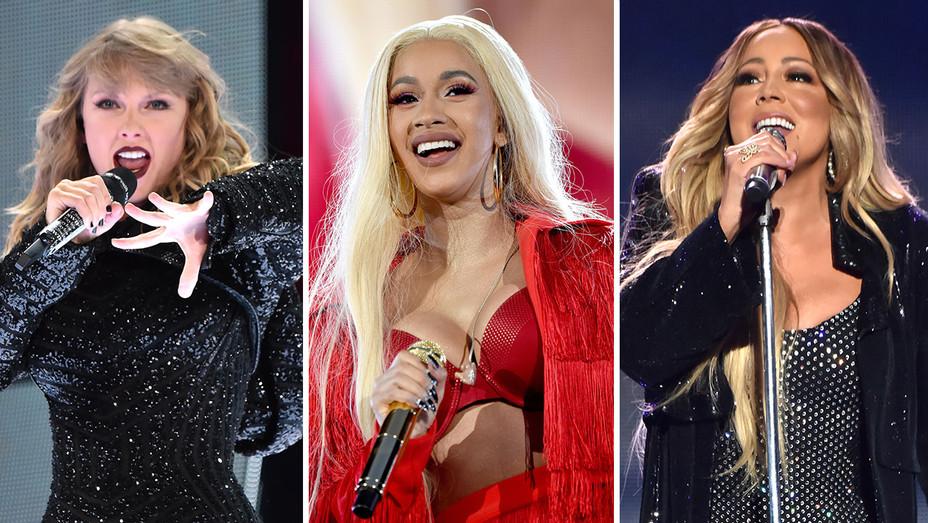 Taylor Swift, Cardi B and Mariah Carey-Split-Getty-H 2018
