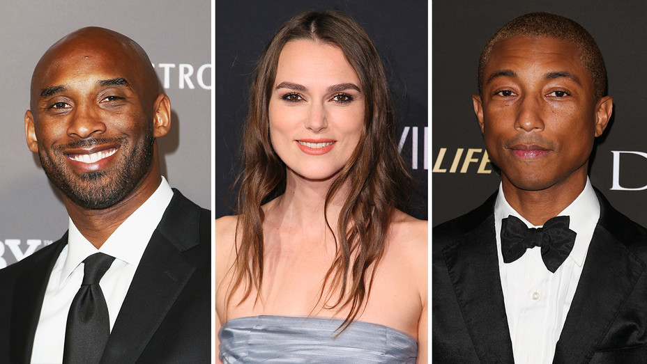 Kobe Bryant Keira Knightley Pharrell Split - Getty - H 2018
