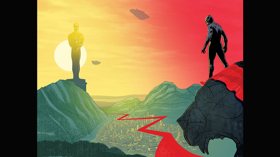 Black Panther's Road From Wakanda to Oscar-Illustration by Dominic Bugatto-H 2018