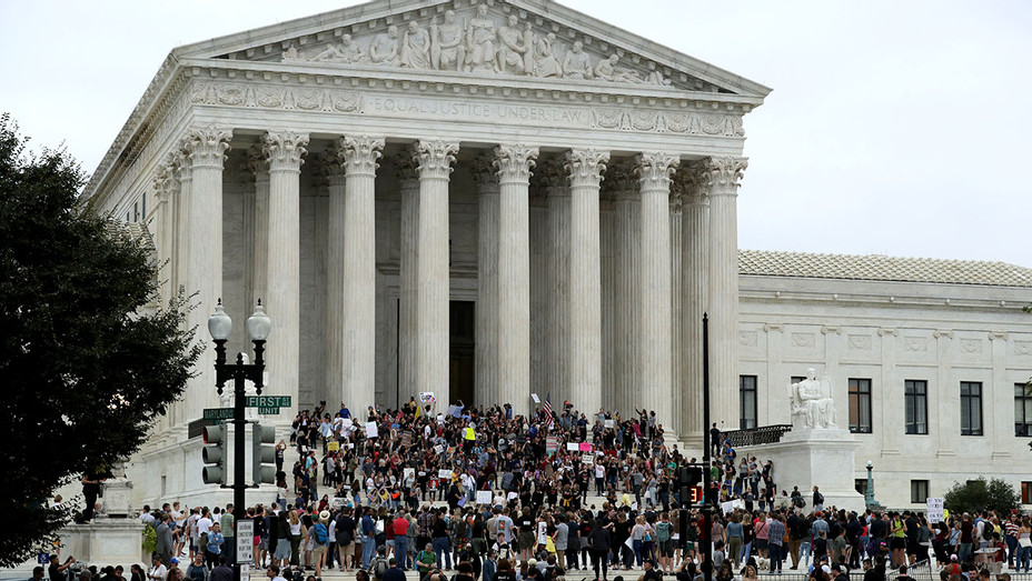 Protesters gather on the steps of the U.S. Supreme Court - October 06, 2018 -  Getty-H 2018