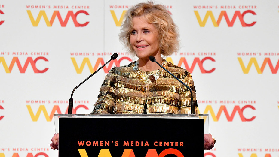Jane Fonda speaks onstage during the 2018 Women's Media Awards at Capitale on November 1, 2018 - Getty-H 2018
