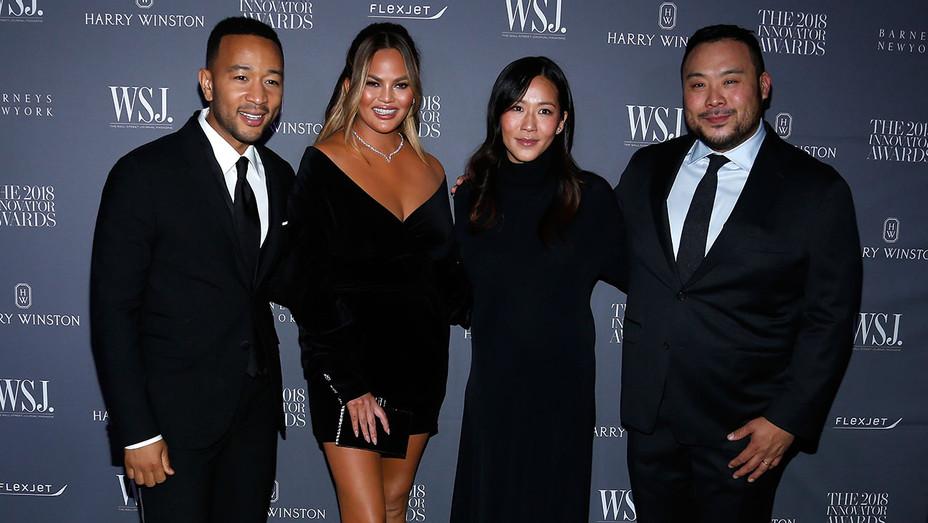 WSJ. Magazine 2018 Innovator Awards - John Legend, Chrissy Teigen, Grace Seo Chang and David Chang -Getty-H 2018