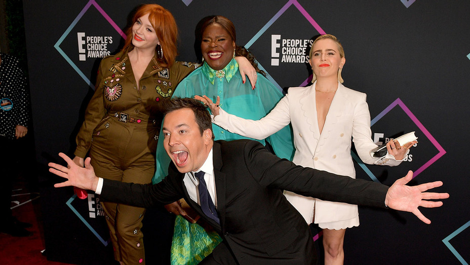 People's Choice Awards 2018 - Christina Hendricks, Retta, Mae Whitman, and Jimmy Fallon-Getty-H 2018