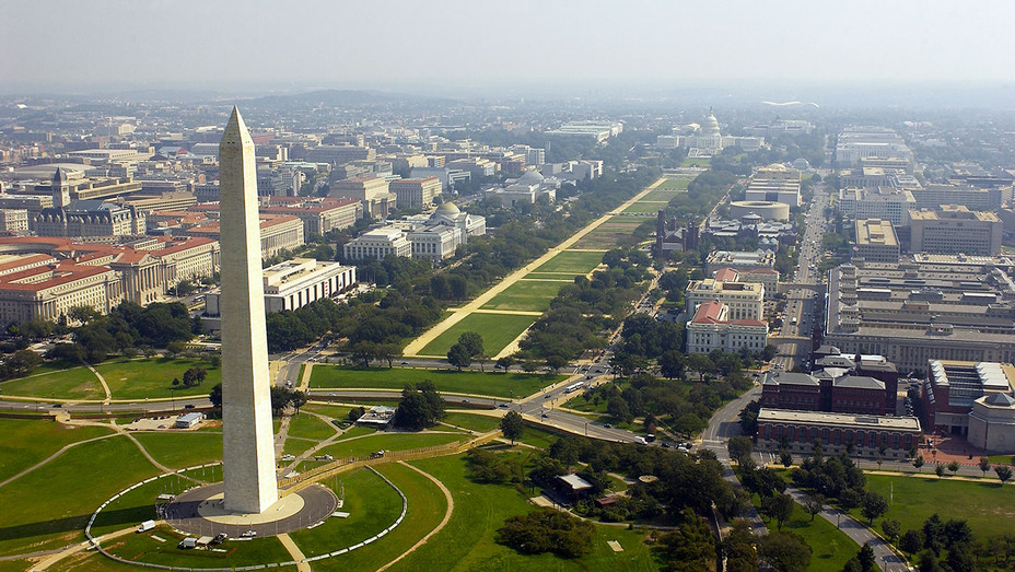 Aerial photo of the Washington Memorial with the Capitol in the background in Washington D.C - Getty-H 2018