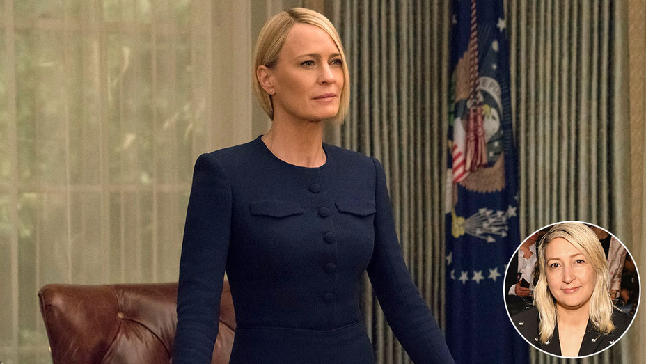 House of Cards - Robin Wright - and inset of Kemal - Publicity-H 2018