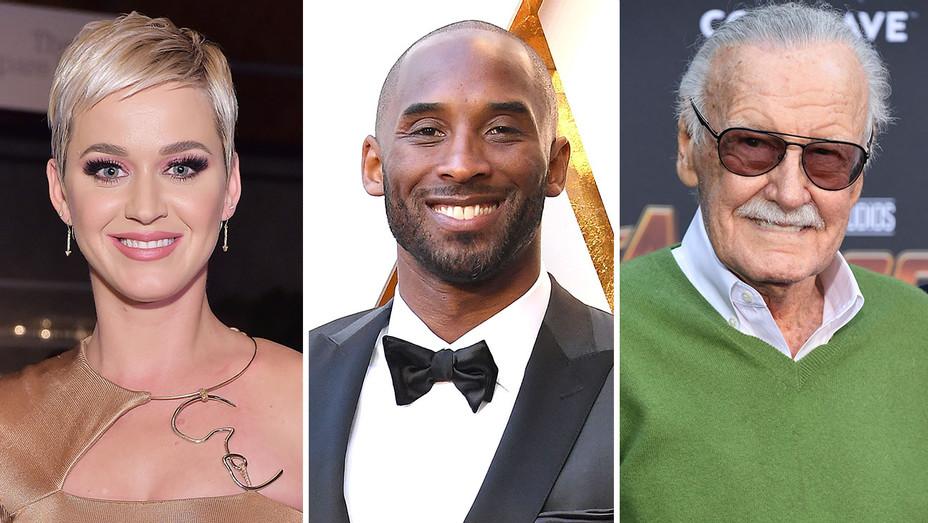 Katy Perry, Kobe Bryant and Stan Lee_Split - Getty - H 2018