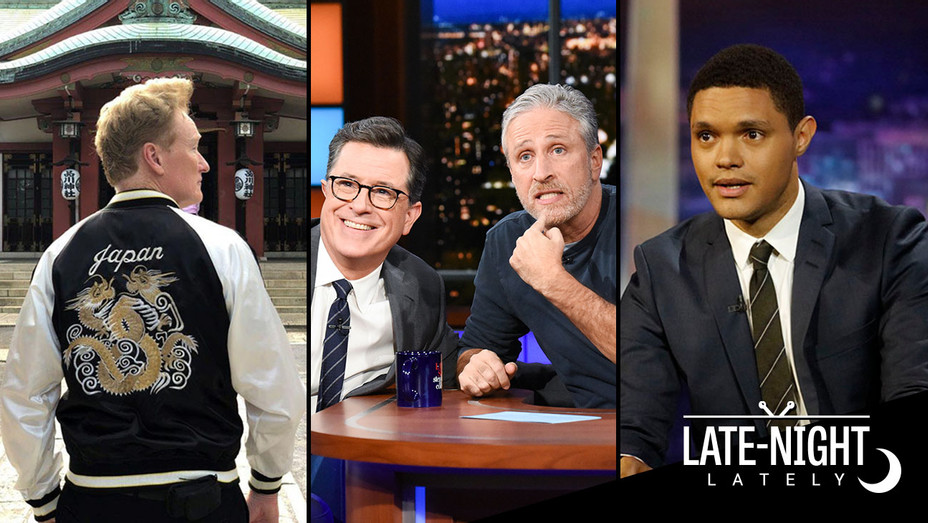 Late Night Lately-Conan-Jon Stewart-Stephen Colbert-Trevor Noah-Split-Publicity-H 2018