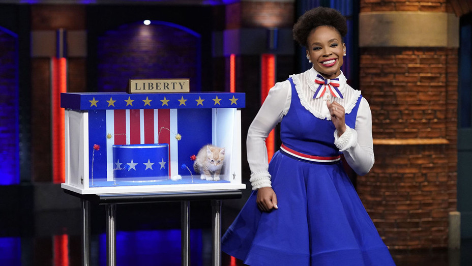 """LATE NIGHT WITH SETH MEYERS -- Episode 751 - Amber Ruffin during the """"Liberty"""" sketch on October 31, 2018 - Publicity-H 2018"""
