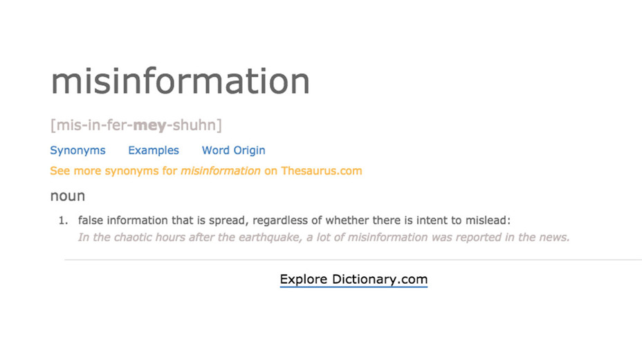 Misinformation Definition -Dictionary.com - Screen shot-H 2018