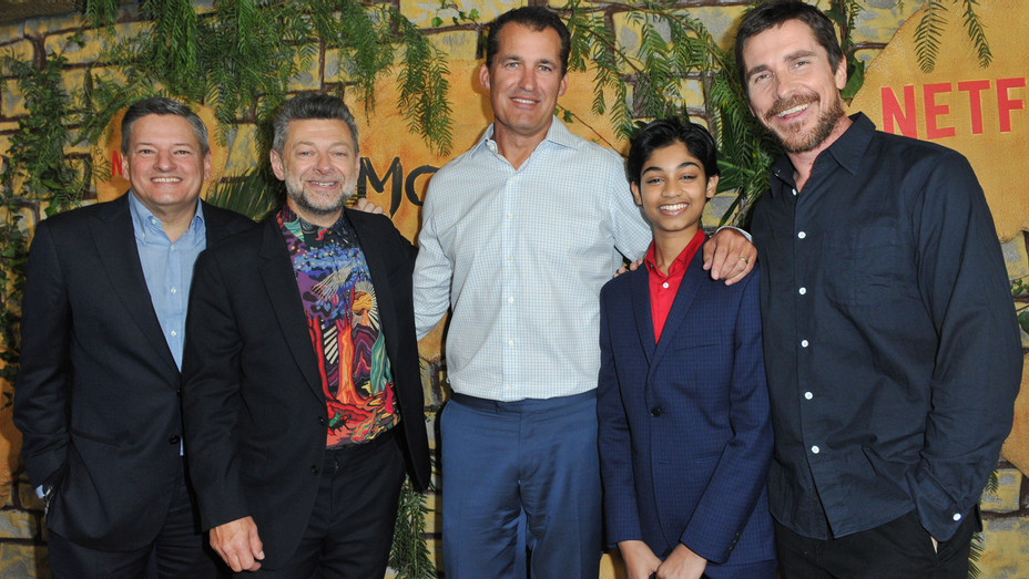 Ted Sarandos, Andy Serkis, Scott Stuber, Rohan Chand and Christian Bale attend the premiere of Netflix's 'Mowgli' - Getty - H 2018