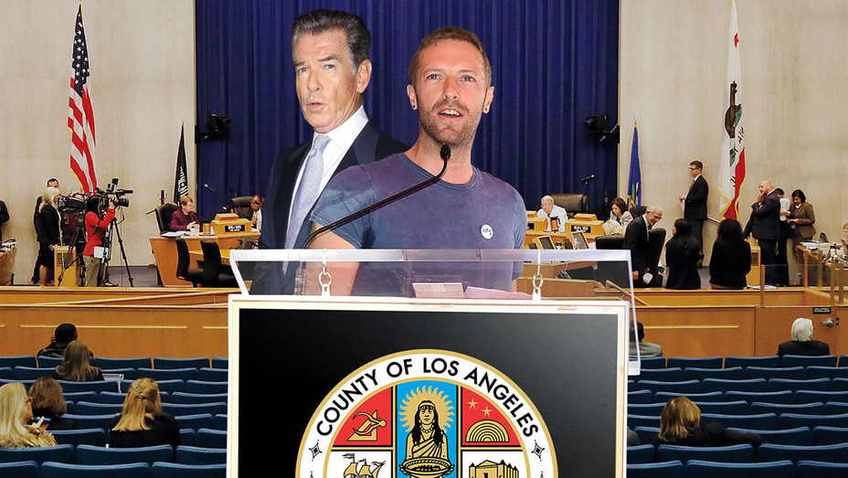 Photo Illo-Pierce Brosnan, Chris Martin Plead With County Board for Help After Malibu Fire -ONE TIME USE- H 2018