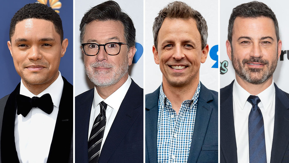 Trevor Noah-Stephen Colbert-Seth Meyers-Jimmy Kimmel-Getty-SPlit-H 2018
