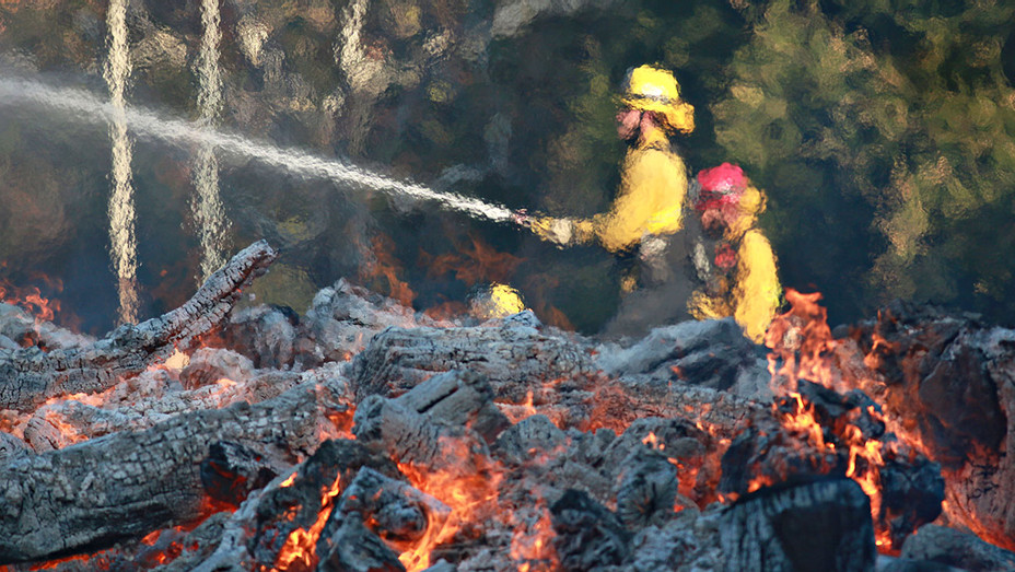 Woolsey Fire-Firefighters battle a blaze at the Salvation Army Camp-Malibu-California-Getty-H 2018