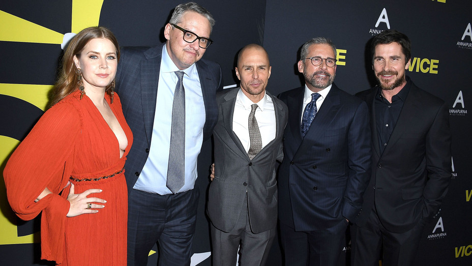 Amy Adams Adam McKay Sam Rockwell Steve Carell Christian Bale at Vice Premiere - Getty - H 2018