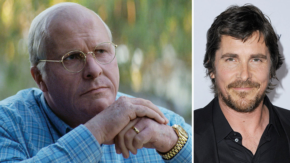 Christian Bale- in full makeup, as Dick Cheney in Vice - Split- H 2018