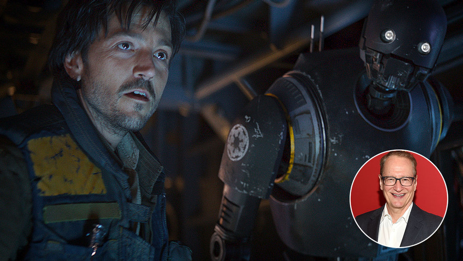 Diego Luna in Rogue One- A Star Wars story with an inset Stephen Schiff -H 2018