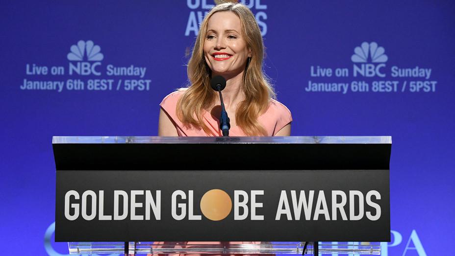 Golden Globes- Leslie Mann speaks onstage - Getty-H 2018