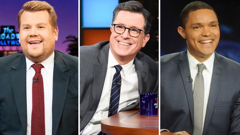 James Corden Trevor Noah Stephen Colbert - Publicity - H Split 2018