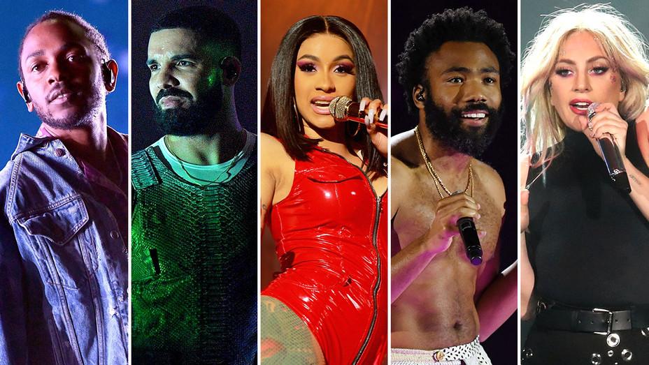 Kendrick Lamar, Drake, Cardi B, CHildish Gambino and Lady Gaga-Split-Getty-H 2018