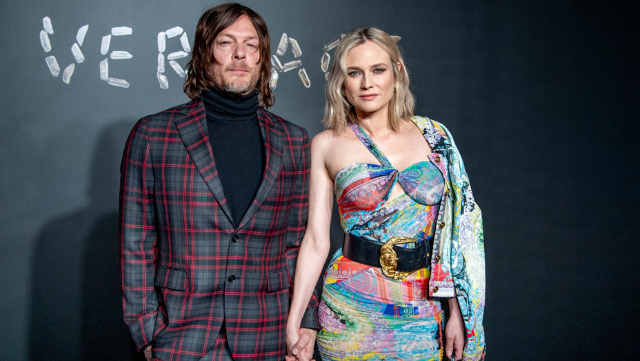 Norman Reedus and Diane Kruger at Versace Fall 2019 Fashion Show - Getty - H 2018