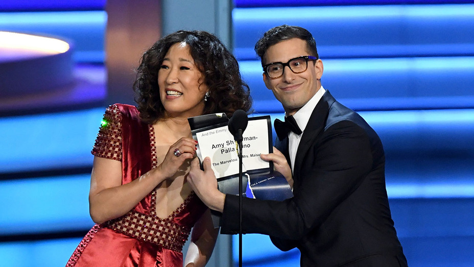 Sandra Oh and Andy Samberg_Emmys - Getty - H 2018