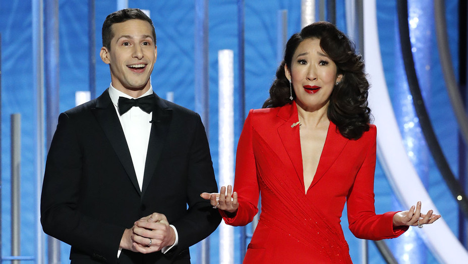 Andy Samberg-Sandra Oh 3-Golden Globes 2019 hosts-Getty-H 2019